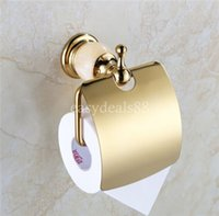 Wholesale Luxury Single Post Brass Gold Rose Gold Finish with Marble Toliet Paper Holder Roll Paper Holder Toilet Tussue Holder