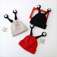 antenna springs - 2016 New Cartoon insect antennae knitting Wool Hat Children warm cute Baby hedging Cap Support