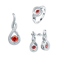 genuine diamond earrings - 2016 Genuine Sterling Silver jewelry sets for women with ct Natural dancing created diamond rings earrings necklace jewelry