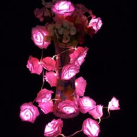 Garland 20pcs / set Rose Flower Fairy luces décoratifs lumières de cordes guirlande lumineuse LED Garden Party Decoration