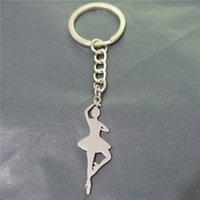 ballet keychain - 12pcs New Design Fashion Stainless Steel Keyring Ballet Dancer Girl Keychain cm Jewelry For Women
