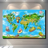 animal design wallpaper - Children s world map poster Photo paper poster wall sticker for kids room Home Decor Retro wallpaper cafe bar home decoration