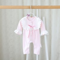 baby christmas ideas - Idea Spring Autumn Infant Baby Rompers Whosale Korean Girl Lace Flower Jumpsuits Baby Pure Cotton Climb Bodysuits