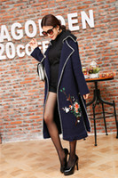american trench coat - 2016 Winter European style women coat Women s Cardigan D Floral Appliques Vintage outerwear Trench coats with Embroidered Flowers and Birds