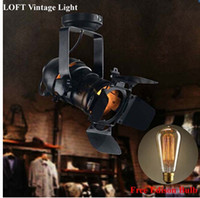 Wholesale Retro American Style Industrial Loft Lighting Black Vintage Iron Lamp Cafe Lighting V V E27 Edison Bulb