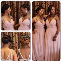 Robes de demoiselle d'honneur rose Longueur de plancher Longueur 2016 Taille grande en mousseline de soie Deep Neck and Strass en perles Sexy Backless Prom Party Maid of Honor Dress