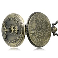 air force watches - Watches Clocks Pocket Fob Watches Antique Vine Bronze Air Force Eagle Stars Quartz Pocket Watch Necklace Pendant Chain Mens Gift P103