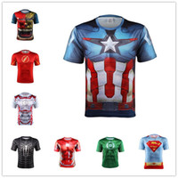 america tights - The Avengers t Shirts For Men Colors Captain America Spiderman Iron Man Sports t Shirt Breathable Quick Dry Tight Mens t Shirts