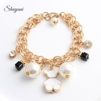 bear claw jewelry - Fashion Alloy Floating Charm Bracelet with Link Chain Bracelets Pearl Jewelry Charm Bracelet Bangles Bear Bracelets For Women