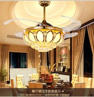 Wholesale Ceiling Fans K9 crystal Electroplate Golden luxurious LED Fans light Invisible fan blade telecontrol adjustable inch