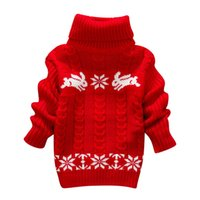 baby christmas jumper - New Autumn Winter Crochet Kids Sweaters Thick Turtleneck Christmas Knitting Baby Sweater Pullover Cartoon Snowflake Print Girls Sweaters