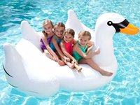 Wholesale 2016 New Adult Child Summer Lake Swimming Water Lounge Pool Giant Rideable Swan Inflatable Float Toy White1 m