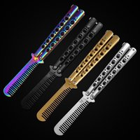 Wholesale New HOT COOL Gold black silver PINK Metal Practice Balisong Butterfly Comb Shape Knifes Style Trainer Tool cool sport C41