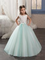 Wholesale Kids Evening Gowns pentelei with Jewel Neck and Lace up Back Beaded Crystals Mint Flower Girls Gowns Custom Made