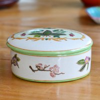 Wholesale High Quality hand painted ceramic Jewelry Box floral birds pattern ceramic Ring Box Home decoration Supplies