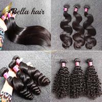 El pelo de la onda del cuerpo teje el pelo brasileño rizado rizado Bundles Trama Extensiones baratas del pelo humano de la Virgen Doble Trama Bellahair 3pcs 7A