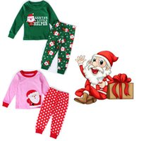 Wholesale 2016 New Christmas Kids Pajamas Cotton Cartoon Santa Claus Tops Pants Clothing Sets Sleepwear For Girls Boys Clothes