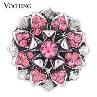 al por mayor botones de cristal de 18 mm-VOCHENG NOOSA flor broche de joyería de 3 colores con incrustaciones de cristal de 18 mm Botón de época Vn-1301
