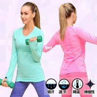 athletic shirts for women - Gym Jersey Yoga Coat Breathable Suits Athletics Sportwear Running Jacket T shirt Sport Tighten Clothes for Women Female