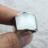 Anillo de plata de la joyería de las señoras de los hombres blancos de la piedra preciosa 316 anillo de la venda de acero inoxidable