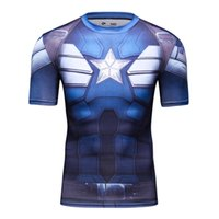 america solider - Men s Winter Solider Sheer Captain America Sublimated Costume T Shirt Fitness Tight Casual Trainning Exercise T shirts Tees