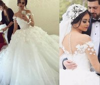 arabic wedding dress designers - Illusion Jewel Neck Long Sleeves Ball Gown Wedding Dress with Flowers Tulle White Beaded Sweep Train Arabic Designer Wedding Gowns