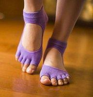Wholesale Yoga Pilates Barre EXERCISE Half Toe Grip Socks Non Slip Cotton Ankle Socks