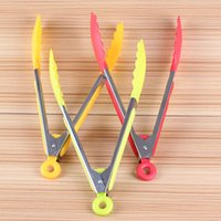 Wholesale 200pcs Useful Silicone Cooking Salad Serving BBQ Tongs Stainless Steel Handle Utensil quot
