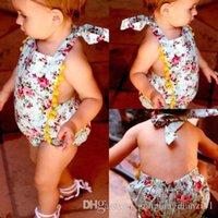 Wholesale Newborn Infant Baby Girl Halter Floral Bodysuit Romper Jumpsuit Sunsuit Clothes