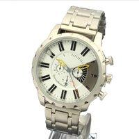 big eye leather - 2016 Luxury Men watches with Calendar big Dial fake three eyes Top Brand DZ Stainless steel Quartz Wrist Watches for Men