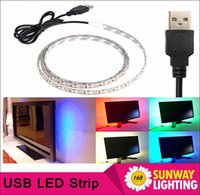 Wholesale 2016 New USB Power Highlight RGB LED Strip cm SMD DC5V Waterproof Backgroud Lighting Indoor Home Decoration