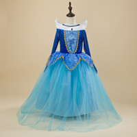 Spring / Autumn aurora prom dresses - Children Blue Princess Dresses Girls Aurora Belle Long Pleated Lace Dress Party Pageant Prom Ball Gown Long Cosplay Costume Dress HH D03