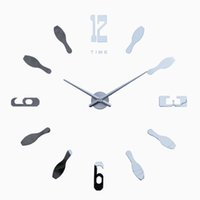 bell bracket - 3 d large size wall clock bell wall stick cm diameter lens bracket clock mute watch high quality fashion wall clock bell