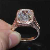 La manera 925 anillos de oro de la plata esterlina Rose pavimenta el ajuste 192PCS AAA CZ que fija la joyería cuadrada de la venda de la boda de la torre del hierro de la piedra preciosa 8ct para las mujeres