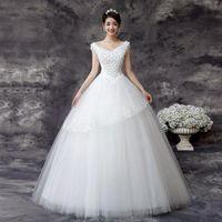 Wholesale 2016 Hot Selling Luxury A line Deep V neck Beaded White Chiffon Bridal Gown Court Train Beach Wedding Dress Free Custom by DHL