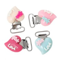 Wholesale 10Pcs Baby Pacifier Clips Heart Shape Clasps Love Carved Mixed Color Cute Infant Soother Clasps Accessories Holder cm x2 cm