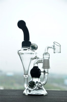 Wholesale Glass Bong with glass banger Black Double Recycle Bubbler Water Pipe Oil Rigs Hookah mm Male Joint