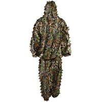 Wholesale Polyester Durable Outdoor Woodland Sniper Ghillie Suit Kit Cloak Military D Leaf Camouflage Camo Jungle Hunting Birding