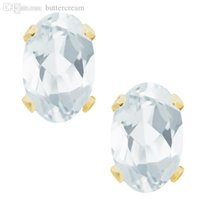 aquamarine stud earrings yellow gold - Ct K Yellow Gold Natural Aquamarine Stud Earrings X4MM