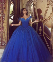 angles picture - 2016 Off Shoulder Quinceanera Dresses Ball Gown Royal Blue Tulle Formal Party Dresses Floor Length Ruffle Angle Prom Dresses WB