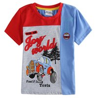 Wholesale Blue Patchwork T shirts boyes Short Sleeved Kids clothes for cotton Children s Day t