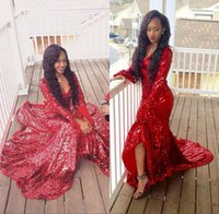 Reference Images african formal wear - African K16 Black Girls Bling Bling V Neck Long Sleeves Sequined Lace Red Mermaid Cut Prom Dresses Court Train Formal Evening Gowns