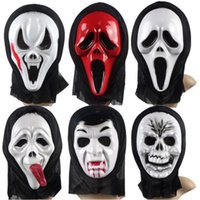 Wholesale A Face Mask Halloween terrorist mask monolithic styles red scream white scream skeleton ghost centipede ghost vampire Long tongue