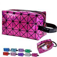 Wholesale 3D laser Diamond Pattern Makeup Bags Portable Cosmetic Bag Women s Girls D Fashion Geometric Zipper Cosmetic Bag