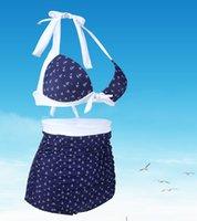 anchor print swimsuit - Slim sexy women bikini swimwear print anchor backless woman beach hot spring swimsuit S XL plus size bikini