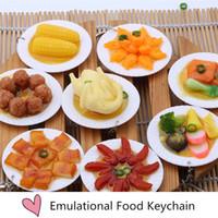 banquet food - New Fashion Emulational food keychain Big dish simulation key chain keychains big banquet key ring key chain B0685