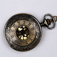 Women's ancient roman gifts - Ancient Bronze Roman Numeral Pocket Watches Necklaces Flip Locket Quartz Watch Clocks For women women jewelry Christmas gift