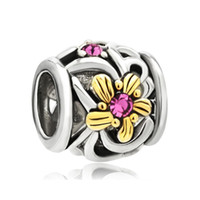 accent metal - Beads Antique Alloy Round Beads k Gold Rose Pink Crystal Diamond Charm Bracelet Accent Flower Bead CBA53