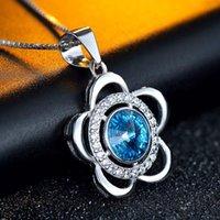 austria shopping - Korean Crystal Pendant Sterling Silver female Austria Crystal Sun Flower Pendant high grade goods shop