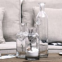 Wholesale 10 quot Tall Hot Sale Hand Blown Green Home Decoration Glass Vase lead free bud transparent vase for hotel cafe shop bar home decorations